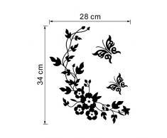 ufengke Papillon Noir et Fleur de Vigne Stickers Muraux, Salle de Bain Toilette Autocollants Amovibles