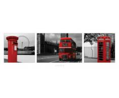 1art1 48386 Londres Midi Poster Rouge Tryptique 91 x 30 cm