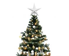 Domybest Cimier de Sapin de Noël Étoile Scintillante Blanche Sommet de Sapin Décoration darbre de Noël 20cm