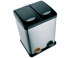 MSV 100352 Poubelle à Pédale avec 2 Seaux Acier Inoxydable Noir/Argent 31x26,5x39,5cm