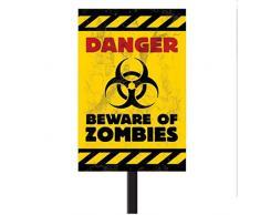 Panneau Attention aux zombies Halloween avec barre, 58,4 cm x 25,4 cm Pancarte d'avertissement danger de mort mise en garde décoration d'Halloween zombies déco de fête effrayante
