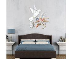 Ufengke® 3D Oiseau Fleurs Effet De Miroir Stickers Muraux Design À La Mode Art De Décalque Décoration De La Maison Argent