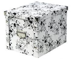 Zeller 17849 Boite de rangement en carton motif floral, blanc, 27,5 x 36 x 26,5 cm
