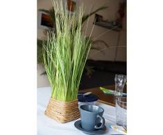 Plante artificielle Touffe d'herbe Vert/jaune dans un panier 45 cm