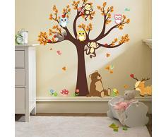 ufengke/® Heureux Cartoon Arbre Animal Avec Owl Singes Z/èbre Girafe Stickers Muraux Chambre dEnfant P/épini/ère D/écalcomanies Murales Autocollants Amovibles