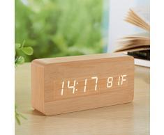 Yihya Couleur du bois Design à la Mode Digital Alarme LED Snooze Horloge Réveil électronique Clock Date Température Affichage avec Sound Control Capteur de Lumière + Veilleuse (Ajuster automatiquement la luminosité la nuit) --- lumière blanche