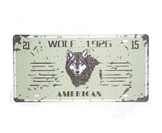 Poster-Licence - Plaque d'immatriculation Américaine 1926 Wolf Metal Sign Tin Sign Garage Shop Cafe Bar Wall Sticker Art Poster