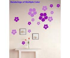 ufengke® 23 Pièces de Petites Fleurs Stickers Muraux Bricolage, Salle de Séjour Chambre à Coucher Autocollants Amovibles, Rose Rouge