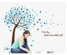 ufengke® Romantique Fleur Bleue Arbres Stickers Muraux, Salle de Séjour Chambre à Coucher Autocollants Amovibles