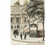 PAINTING VINTAGE CITYSCAPE PARIS PLACE DE L'OPERA ART PRINT POSTER HP1837