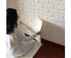 PE mousse 3D brique de pierre, bricolage papier peint Wall Stickers Wall Decor (Kaki) (Blanc, 60* 60 *0.8)