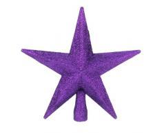 Christmas Direct Cimier de sapin de Noël en forme d'étoile pailletée Violet 20 cm