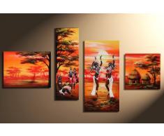 """Bilderdepot24 """"Afrique M15"""" tableau peinture, sur toile, peint à la main, 120x70cm ensemble de 4 pièces 305"""