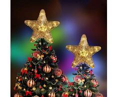 hootecheu Arbre de Noël LED Topper, Arbre Noël Sapin Treetop, Cimier de Sapin de Noël 30 LED Étoiles Scintillante Sommet de Sapin Décoration