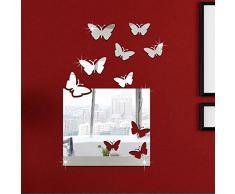 Ufengke® 3D Papillons Block Effet De Miroir Stickers Muraux Design À La Mode Art De Décalque Décoration De La Maison Argent