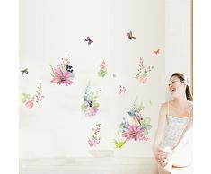 Ufengke® Romantique Fleur Oiseau Papillon Stickers Muraux,Salle De Séjour Chambre À Coucher Autocollants Amovibles