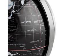 BRUBAKER - Globe terrestre - Design moderne - Acier inoxydable - Décoration bureau - Hauteur 19 cm - Noir / Argenté