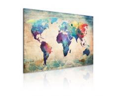 Impression sur toile 90x60 cm - 1 Parties - Image sur toile - Images - Photo - Tableau - motif moderne - Décoration - pret a accrocher - carte du monde 020113-44 90x60 cm B&D XXL