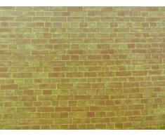 Papier peint motif brique mur exterieur patiné miniature pour maison de poupée échelle 1/12ème (2 feuilles)