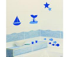 PLAGE 260512 Sticker Smooth carrelage, Au bord de la mer, 4 planches, 14,5 x 14,5 cm