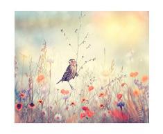 decomonkey | Papier peint intissé Fleurs Oiseau 350x256 cm Trompe l oeil | Déco Mural Tableaux Muraux Photo Nature