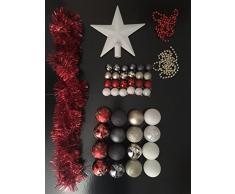 Lot déco Noël - Kit 44 pièces pour décoration sapin : Guirlandes, Boules et Cimier - Thème couleur : Blanc, Rouge, Or et Gris