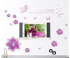 ufengke® Le Bonheur en Fleur Belles Fleurs d'Hibiscus Stickers Muraux Bricolage, Salle de Séjour Chambre à Coucher Autocollants Amovibles, Pourpre