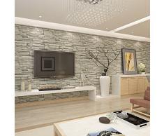 HANMERO Papier Peint Motif de Pierre Brique Simule Moderne Gaufrage PVC pour Salon Chambre TV fond---0.53m*10m