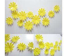 ufengke® 12 Pcs 3D Fleurs Stickers Muraux Design de Mode Bricolage Fleurs Art Autocollants Artisanat Décoration de La Maison, Jaune