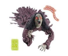 NET TOYS Zombie avec yeux brillants et son décoration mort-vivant 140 cm poupée zombie poupée mort-vivant personnage déco Halloween