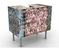 WTD 53617 Meuble design et vintage pour lavabo Motif papier peint ancien ni inversé latéralement ni en miroir 60 x 55 x 35 cm