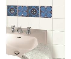 PLAGE 260523 Sticker Smooth carrelage, Carreaux de ciment, 4 planches, 14,5 x 14,5 cm
