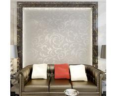 Hanmero Papier Peint Baroque Vintage Design Damassé Classique Acanthe Feuille Flocage 3D PVC pour Salon TV Backdrop Chambre ---0.53*10m--- Argent-Gris