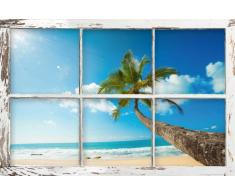 Poster Imitation fenêtre avec vu sur la plage Accessoire inclus