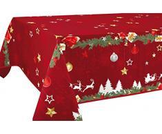 Le linge de Jules Nappe Anti-Taches Noël Rouge - Taille : Rectangle 150x200 cm
