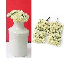niceEshop(TM) Lot de 12 Mini Bouquets de Roses Artificielles pour la Décoration de Mariage et de Maison (Blanc Crème)