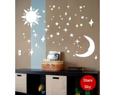 Ufengke® 3D Soleil Lune Étoiles Effet De Miroir Stickers Muraux Design À La Mode Art De Décalque Décoration De La Maison Argent