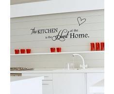 ufengke® The Kitchen is The Heart of Home Citations et Dictons Stickers Muraux, Cuisine Salle À Manger Autocollants Amovibles