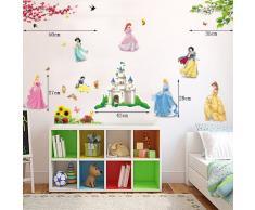 ufengke® Belle Princesse Mignon Petits Nains et le Château de Dessin Animé Stickers Muraux, la Chambre des Enfants Pépinière Autocollants Amovibles