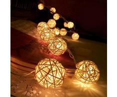 Ularma 20 LED Light Chaîne de boule de rotin blanc Chaud Guirlande lumineuse Pour fête de Mariage de Noël Décoration