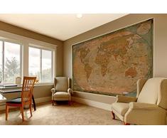 Carte du monde - carte du monde historique sur papier peint - motif rétro vintage - XXL carte mondiale - décoration murale 210 cm x 140 cm