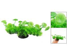 Plastique Vert 22.1cm Large Plantes Artificielles pour Réservoir De Poissons