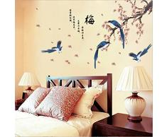 ufengke Style Traditionnel Chinois Pie Prune Fleur Poésie Stickers Muraux, Salle de Séjour Chambre À Coucher Autocollants Amovibles