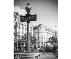Wee Blue Coo Photo Paysage Retro Metro Sign Paris France Noir Blanc Art Poster Décoration Murale 30,5 x 40,6 cm