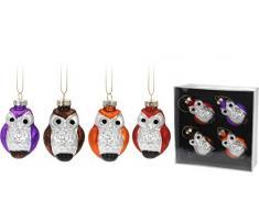 Vos décorations de noël christbaumdeko de noël cimier 4 pièces motif chouettes env. 8 x 4,6 cm (marron/orange/violet/rouge