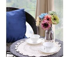 Yazi 50 cm Dessous de Verre à la main au crochet Napperon Fleur Coton Sets de table ronde pour Coffee Shop Deco