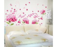 ufengke® Romantique Rose Fleurs dHortensia Stickers muraux, chambre à coucher salon stickers muraux amovibles/stickers muraux/Décoration murale, L