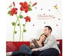 Ufengke® Beau Fleur Rouge Oiseaus Stickers Muraux,Salle De Séjour Chambre À Coucher Autocollants Amovibles