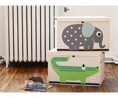 3 Sprouts Caisse Rangement éléphant - Cet article peut être utilisé comme un coffre à jouet- Excellent qualité + motif éléphant mignon
