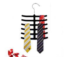 takestop Set 2 pièces Cintre portacravatta fiche Poisson RF 64194 Velours cintres Crochet Porte-Cravate Cravate écharpe Couleur aléatoire